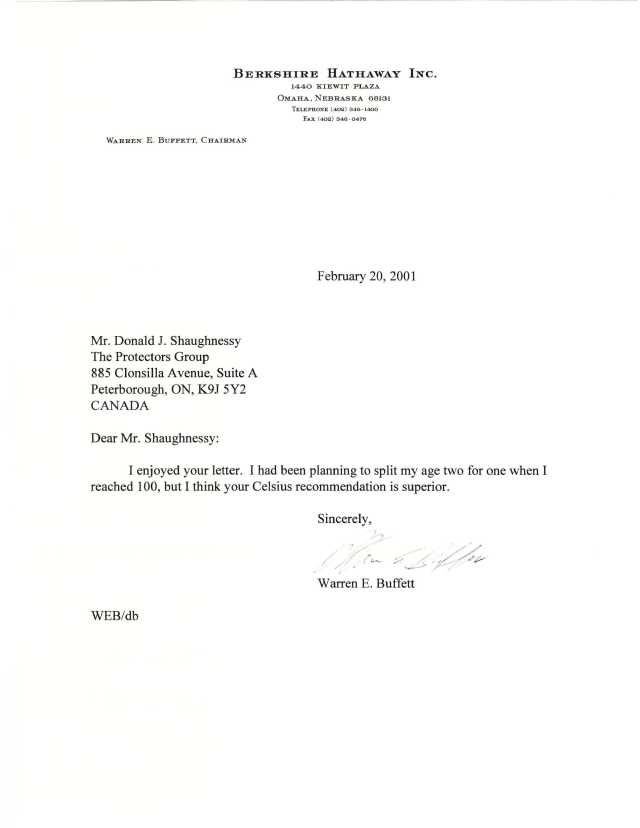letter from warren buffett